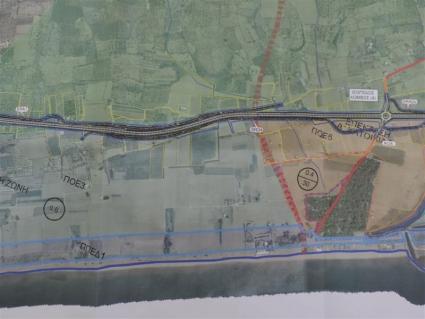 Το σχέδιο διέλευσης του δρόμου Καλαμάτας-Ριζόμυλου από τη Μπούκα της Μεσσήνης